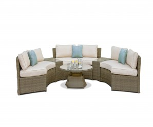 Maze Rattan Tuscany Half Moon Garden Sofa Set With 3 Curved Sofa - Image 1