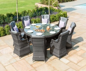 Maze Rattan Victoria 8 Seat Round Dining Set With Victoria Chairs