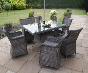 Maze Rattan - Victoria 6 Seat Rectangle Dining Set In grey Flat weave Colour - Image 1