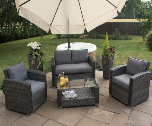 Maze Rattan Victoria 2 Seat Garden Sofa Set With Grey Flat Weave Colour - Image 1