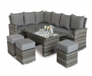 Maze Rattan Victoria Corner Sofa Dining Set With Rising Table