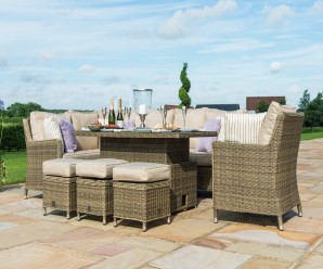 Maze Rattan Winchester Venice Corner Sofa Dining Set With Ice Bucket And Rising Table
