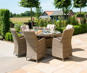 Maze Rattan Winchester 6 Seat Oval Dining Set with Fire Pit & Venice Chairs