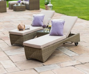 Maze Rattan Winchester Sun Lounger set With Side Table
