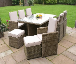 Maze Rattan Winchester 6 Seat Cube Set With 6 Footstools