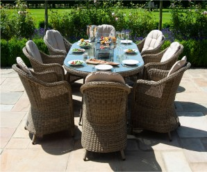 Maze Rattan Winchester 8 Seat Oval Heritage Dining Set with Fire Pit