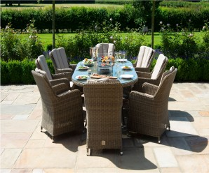 Maze Rattan Winchester 8 Seat Oval Venice Dining Set with Fire Pit