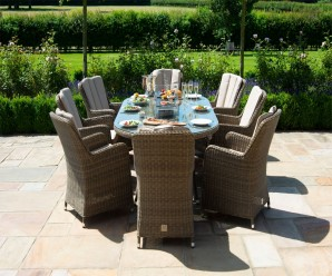 Maze Rattan Winchester Venice 8 Seat Oval Venice Dining Set with Fire Pit