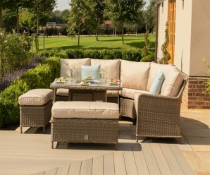 Maze Rattan Winchester Royal Garden Corner Dining Sofa Set With Firepit Table