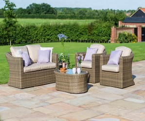 Maze Rattan Winchester 2 Seat Garden Sofa Set With Two Armchairs - Images 1