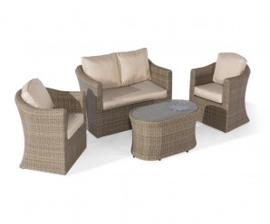 Maze Rattan Winchester 2 Seat Garden Sofa Set With Fire Pit