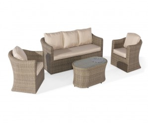 Maze Rattan Winchester 3 Seat Garden Sofa Set With Fire Pit