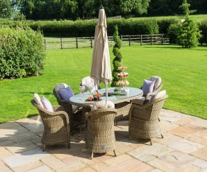 Maze Rattan Winchester 6 Seat Oval Dining Set with Rounded Chairs & Lazy Susan Manufactured By Maze Rattan