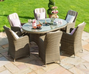Maze Rattan Winchester 6 Seat Oval Ice Bucket Dining Set & Lazy Susan Manufactured By Rattan Furniture Fairy