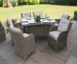 Maze Rattan - Winchester 6 Seat Rectangle Dining Set with Square Chairs