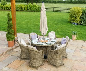 Maze Rattan Winchester 6 Seat Round Outdoor Furniture Set with Rounded Chairs and Lazy Susan
