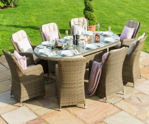 New Maze Rattan Winchester 8 Seat Oval Ice Bucket Garden Dining Set & Lazy Susan - Image 1
