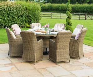 Maze Rattan Winchester 8 Seat Round Dining Set with Venice Chairs - Image 1