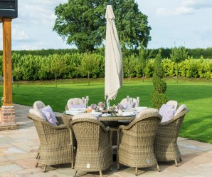 Maze Rattan Winchester 8 Seat Round Dining Set with 8 Rounded Chairs and Lazy Susan With a Beige Parasol