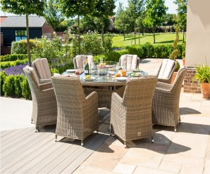 Maze Rattan Winchester 8 Seat Round Venice Dining Set with Fire Pit
