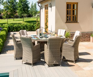 Winchester 8 Seat Round Venice Dining Set with Fire Pit - Maze Rattan