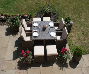 Maze Rattan Winchester 5 Piece Cube Set with 4 Footstools - Image 1