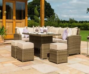 New Maze Rattan Winchester Kingston Corner Sofa Dining Set with Rising Table And 3 Rattan Footstools - Image 3