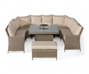 Maze Rattan Winchester Royal U- Shaped Garden Sofa Set With Fire Pit Table