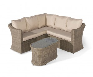 Maze Rattan Winchester Small Corner Sofa Set With Fire Pit Coffee Table
