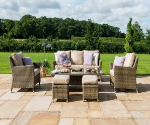 New Maze Rattan Winchester Venice Garden Sofa Dining Set with Rising Table In Wicker Quality