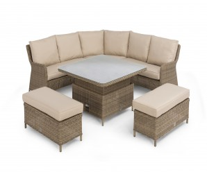 Maze Rattan New Winchester Square Corner Bench Set with Rising Table