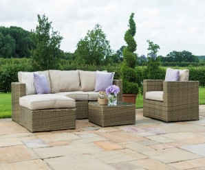 Maze Rattan Winchester Chaise Corner Sofa Set with Armchair