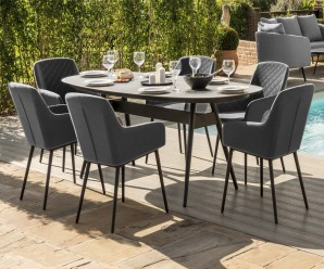 Maze Zest 6 Seater Oval Outdoor Fabric Dining Set In Charcoal Colour