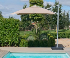 Maze Zeus 3M Sqaure Cantilever Parasol with LED Lights