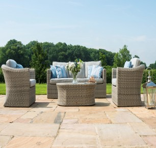 Maze Rattan Oxford 3 Seat Garden Sofa Set with Armchairs