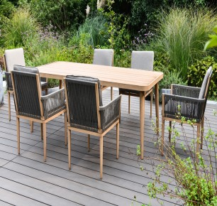 Maze Rattan Palma 6-Seater Rectangular Dining Set + FREE COVER