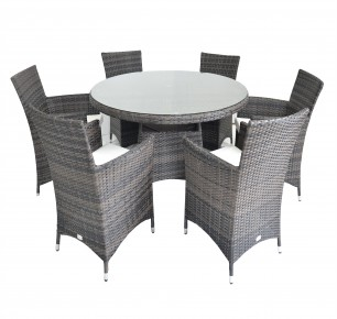Clearance Sale ! - Rattan Fairy Figari 6 Seat Round Garden Furniture Set