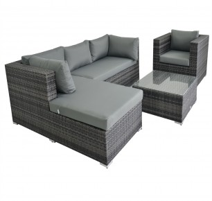 Clearance Sale ! - Rattan Fairy Cannes 4 Piece Deluxe Garden Sofa Set with Lounge Chair & Ottoman-Coffee Table!
