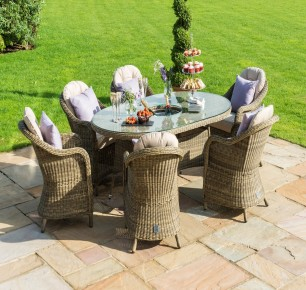 New Maze Rattan Winchester 6 Seat Oval Ice Bucket Dining Set with Heritage Chairs & Lazy Susan