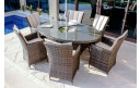 Maze Rattan LA 6 Seat Oval Dining Set with a Luxury Inset Ice Bucket and Lazy Susan