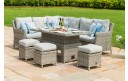 Maze Rattan Oxford Casual Corner Sofa Dining Set with Inset Ice Bucket Rising Table