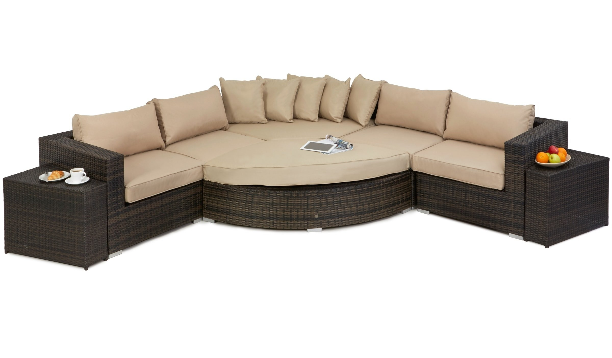 Maze rattan deluxe barcelona garden corner sofa set for 9 seater sofa set