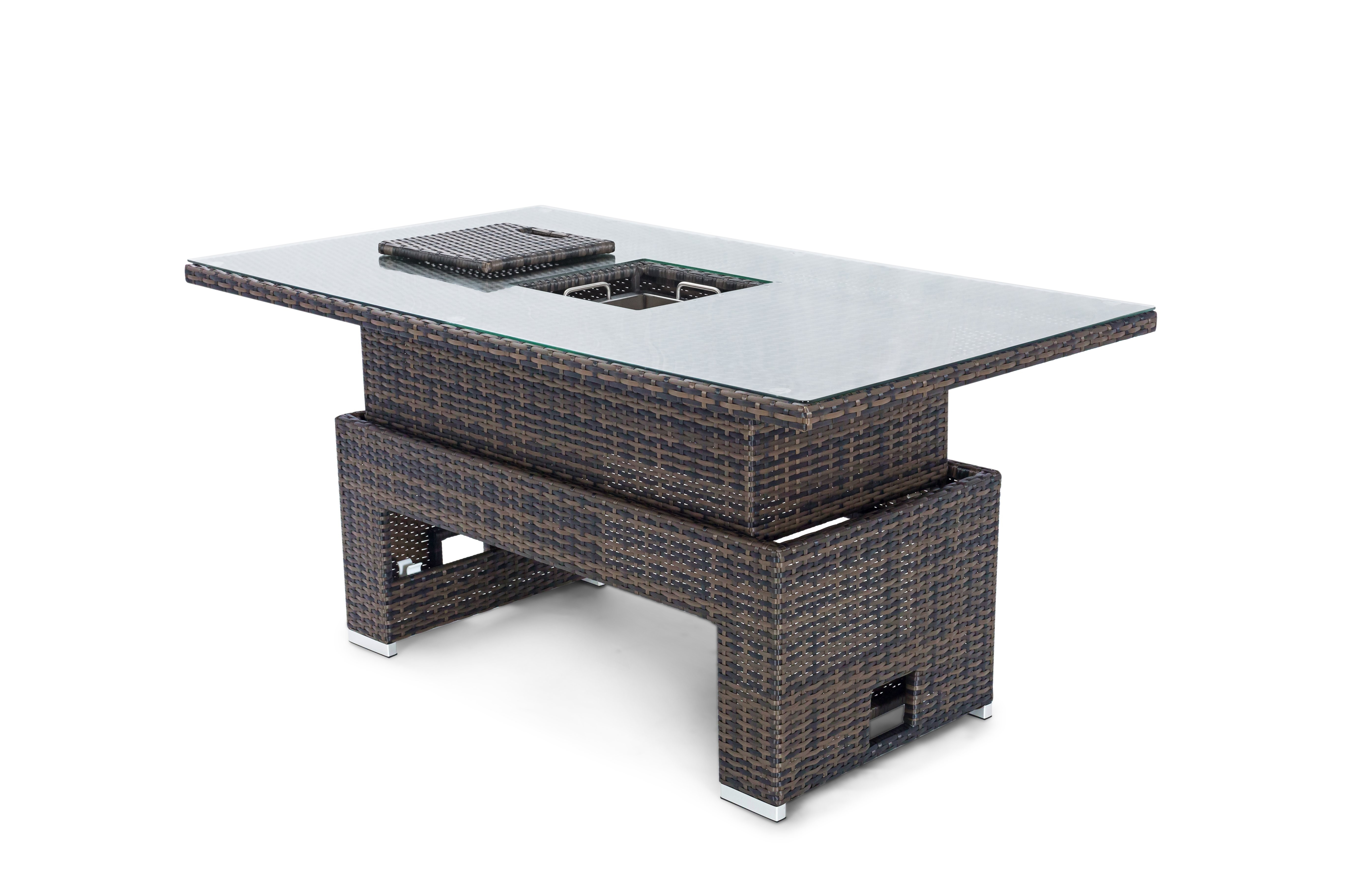 elevating_table_with_ice_bucket-_brown_flat_weave_1_ Impressionnant De Table Transformable Concept
