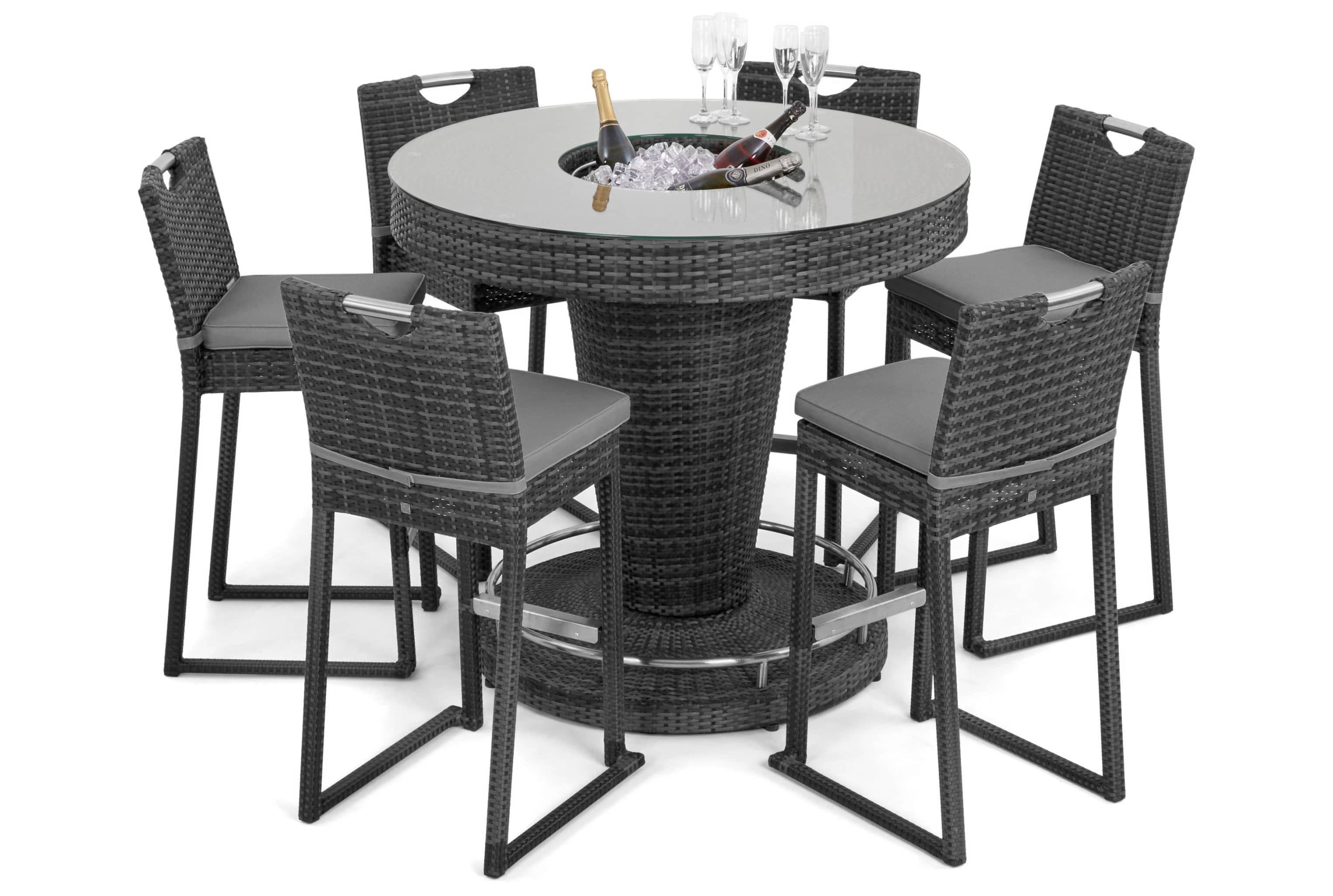 Maze Rattan Winchester 6 Seat Round Bar Set With Ice Bucket