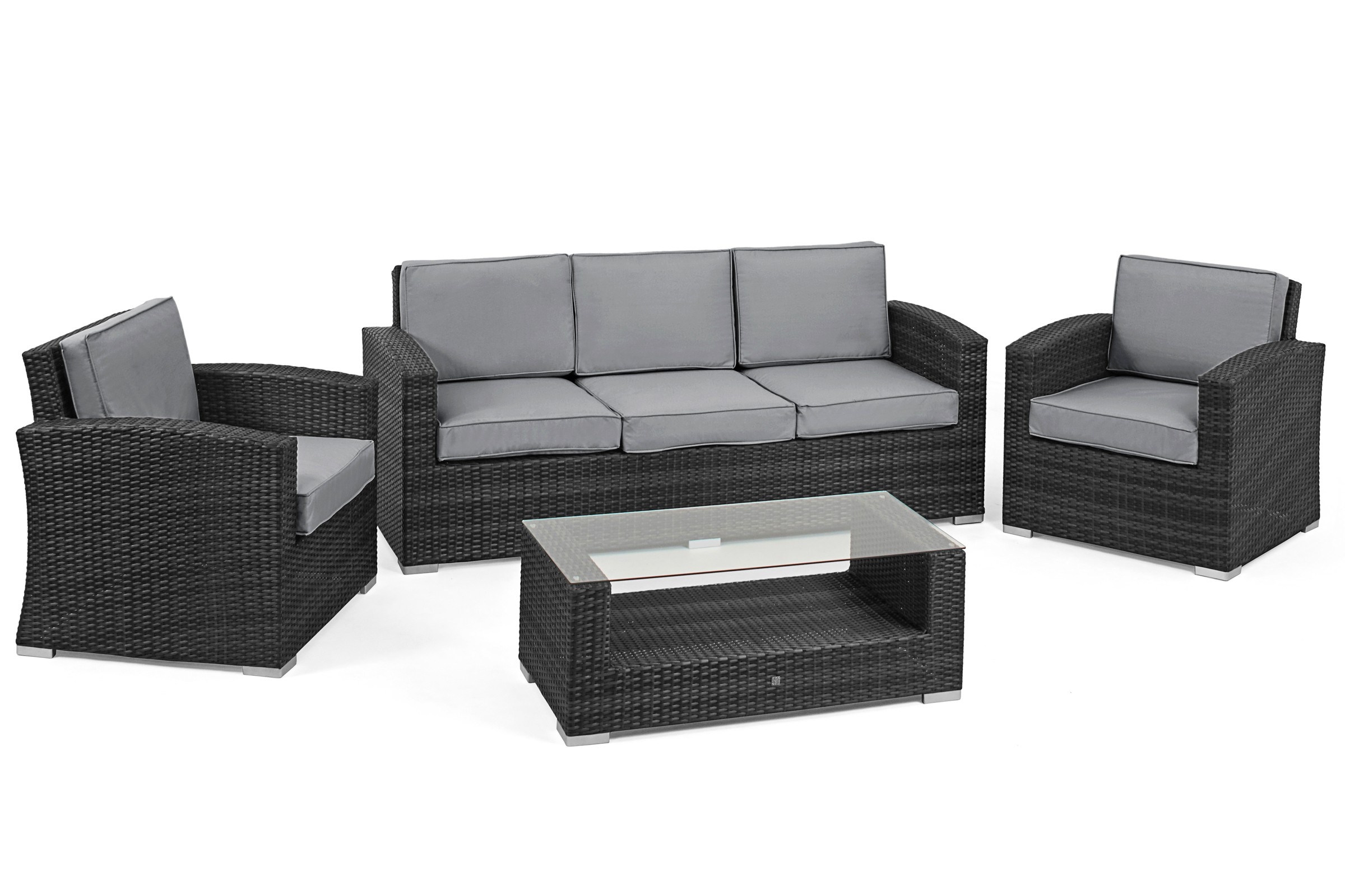 Maze rattan kingston 3 seat garden sofa set rattan for 9 seater sofa set