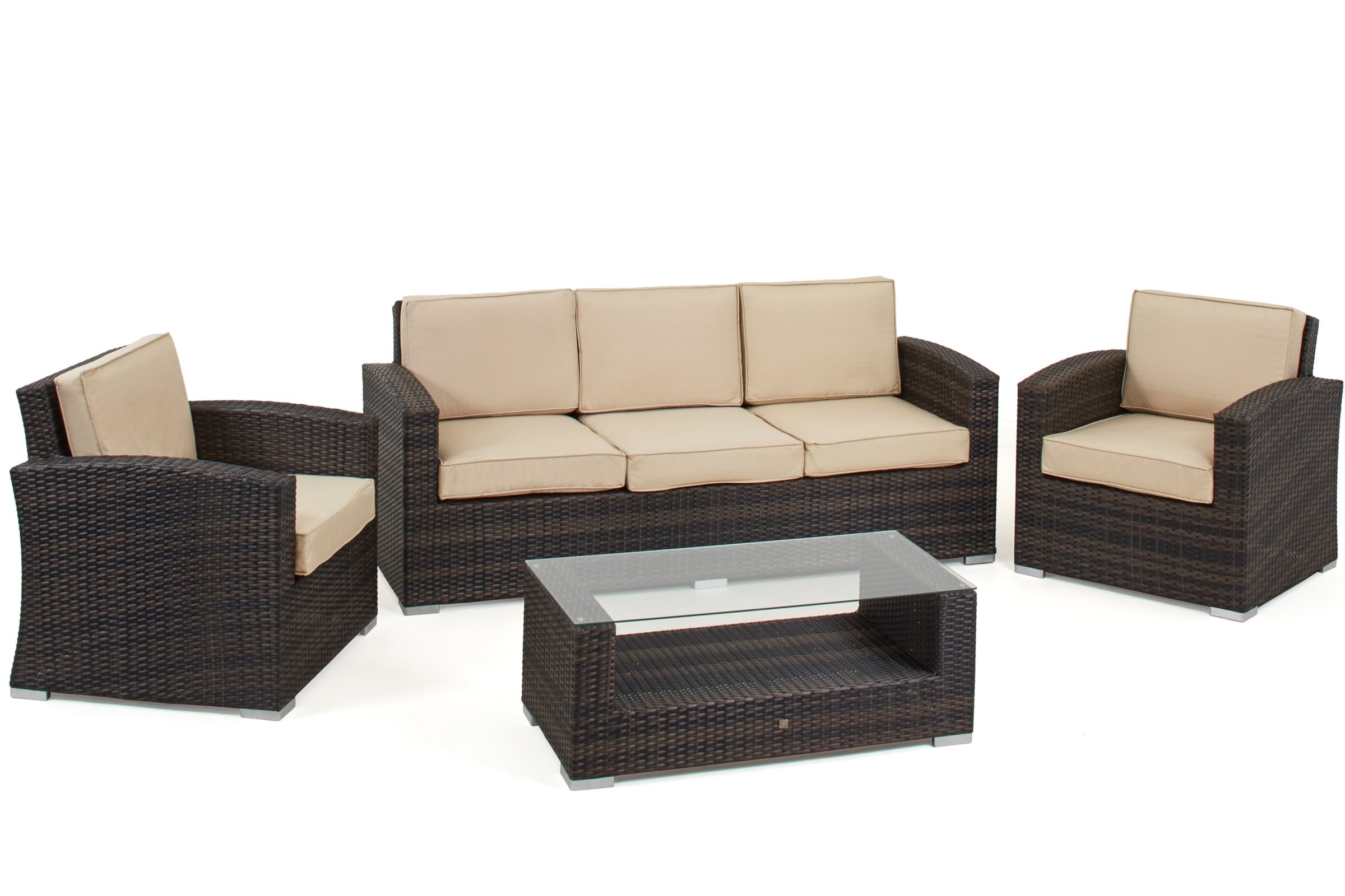 Maze Rattan Kingston 3 Seat Garden Sofa Set Rattan