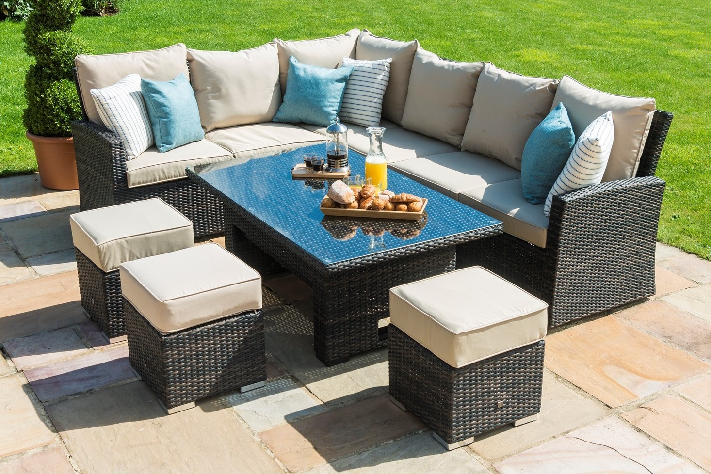 Maze Rattan Casual Kingston Corner Sofa Dining Set with ...