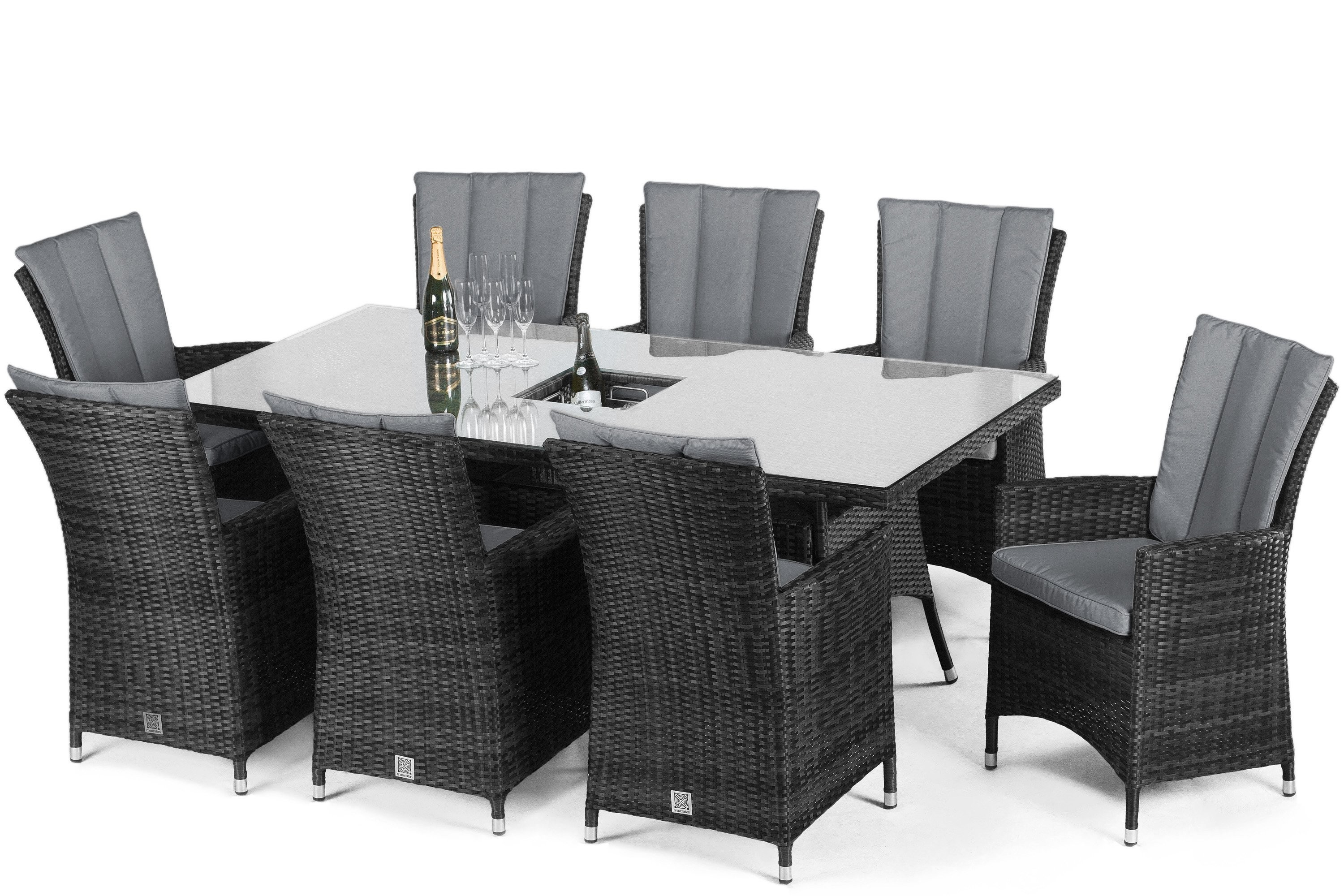 Maze rattan 8 seat rectangular Dining Set with Or Without Ice Bucket