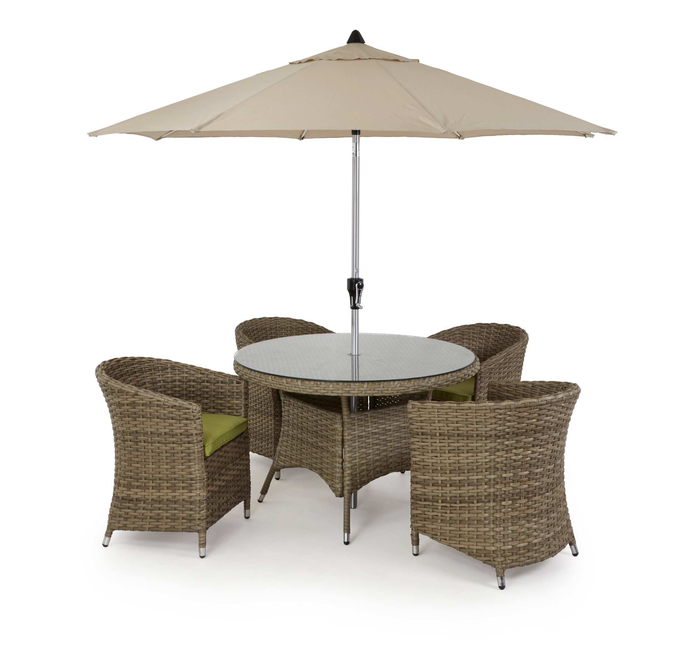 Maze Rattan Milan 8 Seat Round Dining Set With Carver Chairs: Maze Rattan Milan 4 Seat Dining Set With Rounded Chairs