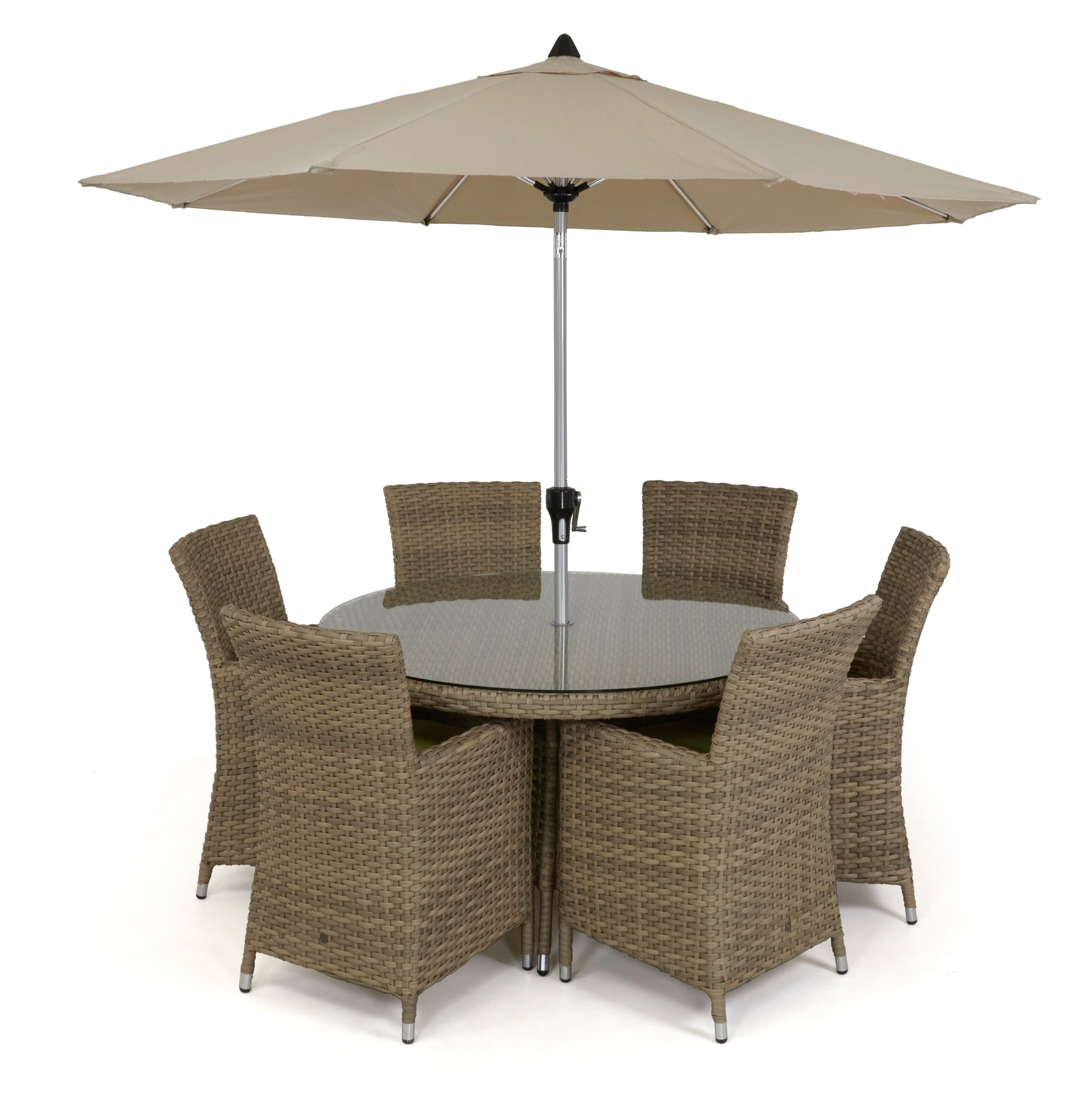 Maze Rattan Milan 8 Seat Round Dining Set With Carver Chairs: Maze Rattan Natural Milan 6 Seat Highback Round Garden